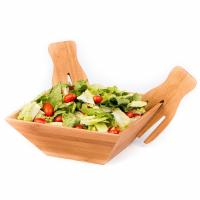 China Wood Salad Bowl Set With Bamboo Servers, Best For Serving Salad, Pasta, and Fruit bamboo wooden salad bowl on sale