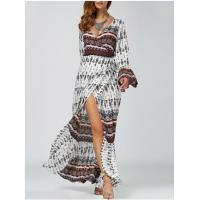 Best Ethnic Print High Slit Bell Sleeve Wrap Dress Bohemian beach long woman dress wholesale