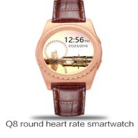 Best 2016 new arrival Q8 300mAh Bluetooth Heart Rate Smartwatch with Pedometer Monitor Round outdoor Sport Tracker wristwatch wholesale