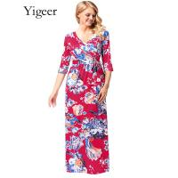 Best 1/2 Sleeve Floral V-neck Wrap Maxi Long Dress wholesale