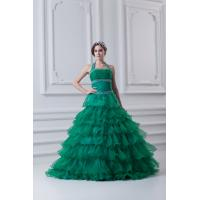 Cheap Sexy Halter Green Organza Beading Women Quinceanera Gown for Formal Evening Party for sale