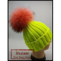 Wholesale Latest UK Style Colorful Wool Crochet Hat With Raccoon Fur Pom Poms  Crochet