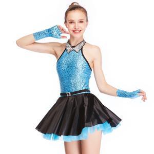 Best Fancy Girls Jazz Dance Dress Spandex Fabric Bodice With Rhinestones Chocker Collar wholesale