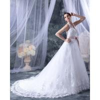 China Fashion Appliques around the neck V Neck Wedding Dresses with Pink Belt on sale