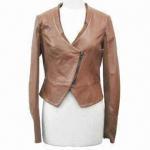 Best Women's coat/women's PU short style jacket, V-neck, sleeve pieced wholesale