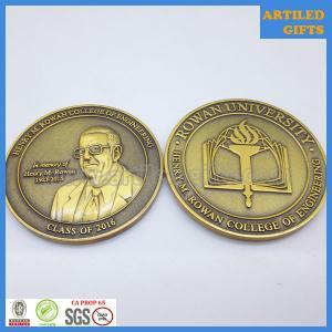 Best High quality University anniversary souvenir 3D antique brass coin wholesale