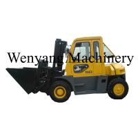 Best China made forklift attachments dumping bucket  mounted on 5ton diesel forklift truck with cab wholesale