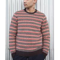 Best 100 % Lambswool Jacquard Knit Sweater Fair Isle Floating For Male Striped wholesale