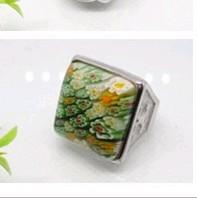 China Acid gold / Mi gold murano glass ring with Laser Engraving Service 1100037 on sale