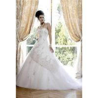 Best Custom-made strapless beading train satin wedding dresses bridal gown W1074 wholesale