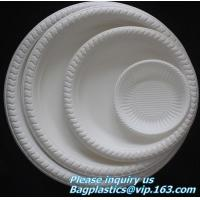 Eco friendly biodegradable sugarcane bagasse tableware sets disposable paper pulp plate 6 inch round disc bagease packag