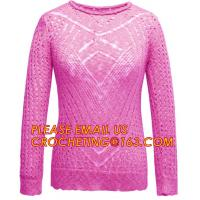 Long Sleeve Casual Hollow Pointelle Knit Pullover Women Spring Sweater