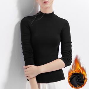 Best Plus Velvet Full Sleeves T Shirts For Womens , Womens Plain Long Sleeve T Shirts Light Weight wholesale