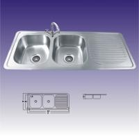 China American Standard Stainless Steel Kitchen Sinks Undermount , Double Bowl 380X320 on sale