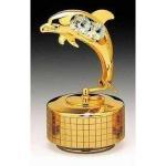 Best 2013 cretive gift,Dolphin 24k Gold Plated Swarovski Crystal Music Box wholesale