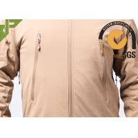 Khaki Softshell Military Jacket , Police Tactical Jacket 100% Nylon For Outdoor