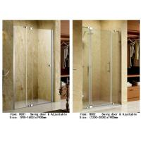 China 3 Panels Straight Frameless Glass Shower Doors Hinge Opening Style With Adjustable Support Bar on sale