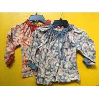 Best Rust Circles Colorful Girls Long Sleeve Top , Children Girls Clothes Frills Cuff and Neck wholesale