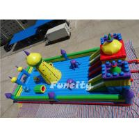 China 0.55 MM PVC Tarpaulin Double Stitching Inflatable Fun City For Kids 15 * 8 * 6.8 M on sale