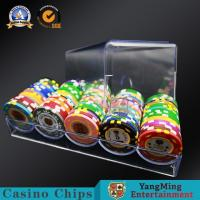China 40mm Poker Chips Case 5 Rows 100 PCS  Clear Acrylic Float Gambling Table Chips Holder on sale
