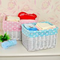 China Home storage durable white wicker laundry basket for dirty clothes from manufacturer on sale