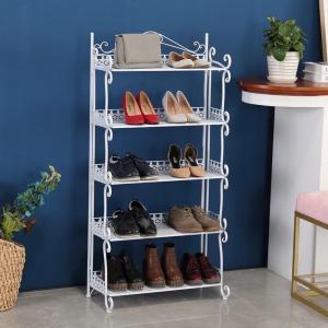 H269 Home Space Saving Metal Mesh Shoe Rack Modern Style Standing Shelf