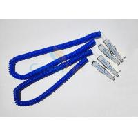 Best Plastic Stretchy Dental Scarfpin Coiled Cord Blue Color 30CM Long Custom Logo Printing wholesale
