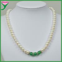 Best Best quality cheap green agate flat button white fresh water pearl beaded necklace wholesale