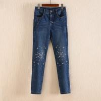 Best Non Fading Dark Blue Wide Leg Womens Tapered Jeans With Embroidered Flowers wholesale