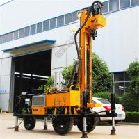 China Tyre Based 380V Water Well Drilling Rig With Diesel Engine Drlling Depth 230m Borehole on sale