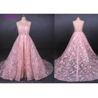 Best Pink Halter Backless Sleeveless Lace Wedding Dress Removable Tail Bridal Gown wholesale