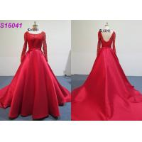 China ​​Red Female Wedding Dress Long Sleeves Inspiration Designs Brides Wearing on sale