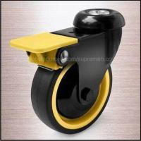 Best Swivel Caster with Brake and Thread Guard, Bolt Hole, and Yellow PP Core with PU Tread wholesale