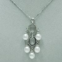 Best Lead-free Alloy Pendant with Fresh Water Pearl and Copper Chain Necklace wholesale