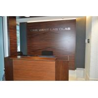 Wooden reception desk and decorative background wall in high glossy painting Walnut plywood board
