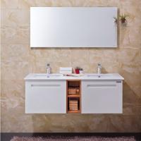 Buy cheap Villa Open Door Bathroom Cabinet Furniture White PVC With Double Sink / Shelf from wholesalers
