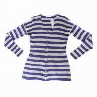 China Women's Striped Cardigan, Made of Combed Cotton on sale