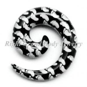 Best UV Acrylic 0 Gauge Plugs , White / Black Customized Ear Stretchers wholesale