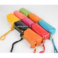 Best 091104 Double Zipper Leather bag Phone Pouch Genuine Leather Wallet Coin Wallet in different colors wholesale