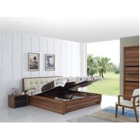 Best Cheap FSC Certificated Good quality Upholstery headboard bed with wood storage bottom and Sliding door wardrobe wholesale