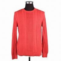 China Men's round neck long sleeves pullover, made of 100% cotton on computer machine, 3.5 gauge on sale