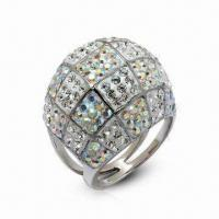Cheap Swarovski Jewelry, Sterling Silver Ring with Crystal Ring, in New Design for sale