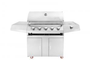 Best Factory price silver 430 stainless steel slow 5 burners protable gas BBQ grill wholesale