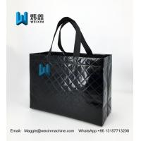 Cheap Black 150g reusable embossed non woven tote bag with lamination for sale