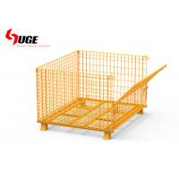 China Movable Collapsible Galvanized Wire Mesh Storage Baskets With Hollow Board on sale