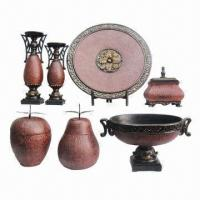 Best Polyresin Crafts, Including Candle Holders, Plates, Boxes, Decorative Bowl with Red Leather Design  wholesale