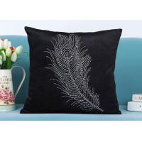Best Custom Unique Creative Shiny Diamonds Logo Black Soft Velvet Cushion Pillowcase wholesale