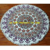 China reactive printed round beach towel with decorative border , OEM design on sale