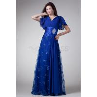 China A-Line Short Beading Chiffon Lace Elastic Woven Satin Formal Evening Dress on sale