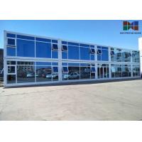 Cheap Painting Roof Panel Office Container House With Double - Glazing Glass Curtain for sale